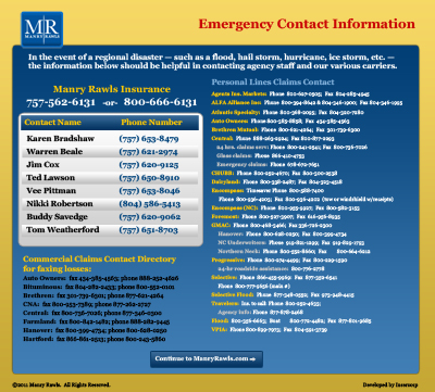 Manry Rawls Emergency Contact Page