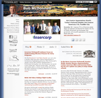 Insercorp on Governor McDonnell's Website