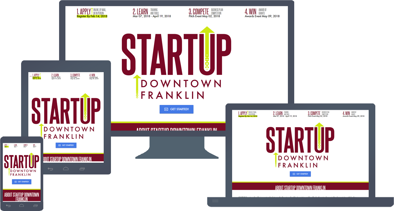 Responsive Website Design for STARTUPDowntownFranklin.com Round Two