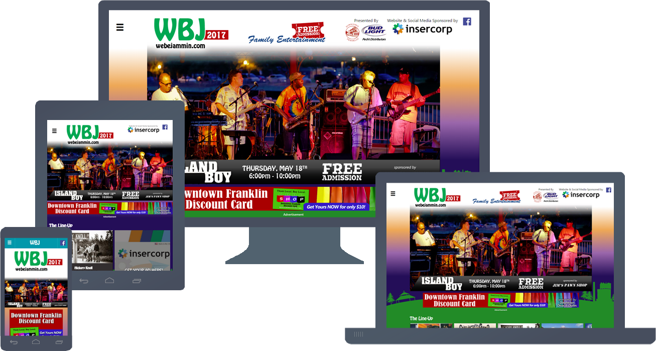 Responsive Website Design for WeBeJammin.com 2017