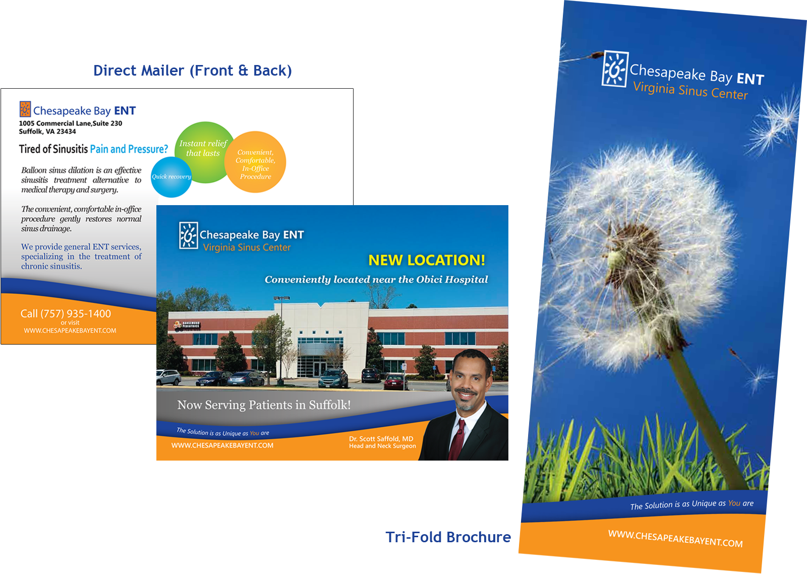 Direct Mailer and Tri-Fold Brochure