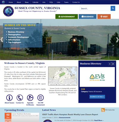 SussexCountyVA.gov Responsive Upgrade & Website Re-Design 2016