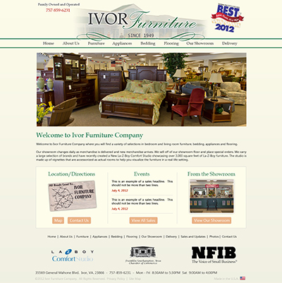 Beau Ivor Furniture Companyu0027s Existing Website ...